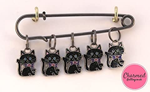 Lucky Black Cats - 5 Enamel Knitting Stitch Markers by Charmed Knitting