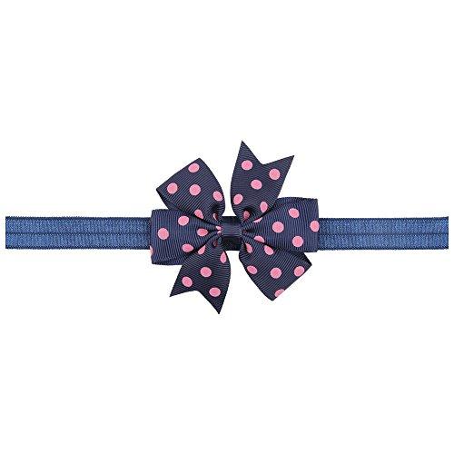 BELLAZAARA Girl Baby Ribbon FlowerNAvy Blue and Pink Polka Dots Bow Headband Hair Band