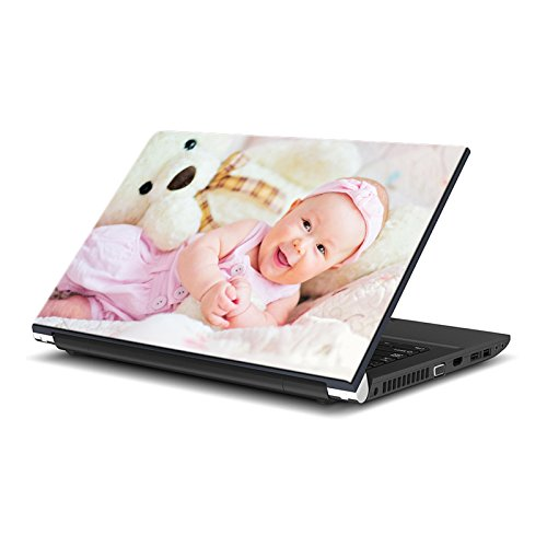 ezyprnt Cute Baby with Teddy Bear (13 to 13.9 inch) Laptop Skin Sticker  available at amazon for Rs.189