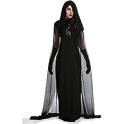 Trajes de bruja de Halloween para las mujeres con capucha capa de cosplay partido traje oscuro caído? Vestido de ángel (Large)