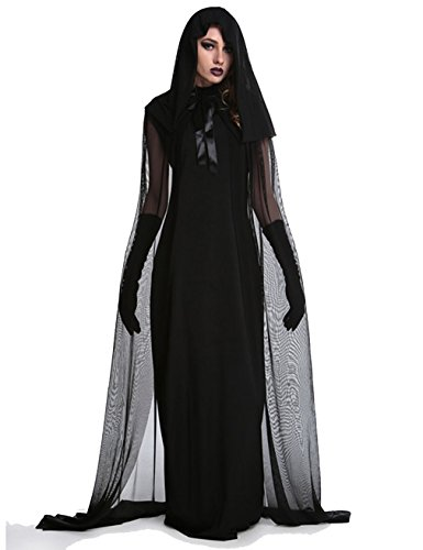 2017 Kostüme Size Plus (Halloween Hexe Kostüme für Frauen Kapuzenjacke Cosplay Party Outfit Dark Fallen? Engel Kleid (Medium,)