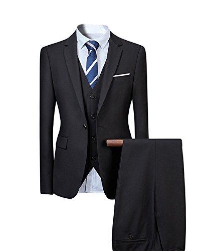 Herren Anzug Hochzeit Anzüge 3-Teilig Sakko Hose Weste (Herren Schwarz Anzug 3-knopf)