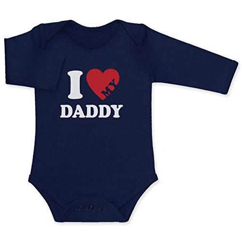 Ich Liebe Meinen Papa - I Love My Daddy Baby Langarm Body 6 - 12 months Marineblau (T-shirt Baby Daddy Love)