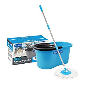 Primeway 360 Rotating Magic Mop and Bucket, Blue/Black