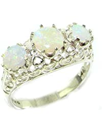 Quality Solid Sterling Silver Natural Fiery Opal English Filigree Trilogy Ring