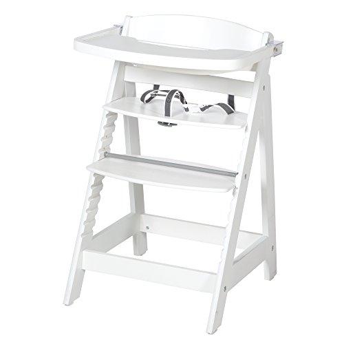 roba Treppenhochstuhl Sit Up FUN, Hochstuhl inkl abnehmbarem Essbrett und Bügel, mitwachsend vom Babyhochstuhl bis zum Jugendstuhl, Holz-Hochstuhl, weiß