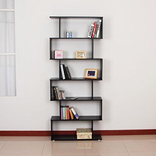 Homcom  Wooden Wood S Shape Storage Display 6 Shelves Room Divider Unit Chest Bookshelf Bookcase Cupboard Cabinet Home Office Furniture (Black)