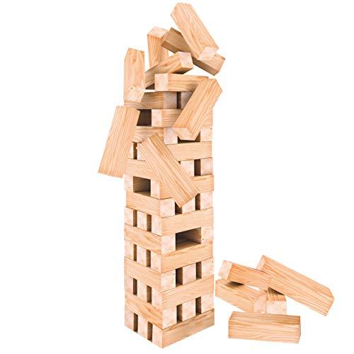 Oramics XXL Turmspiel Stapelspiel - 60 teiliges Holzspielzeug - Wackelturm Geschicklichkeitsspiel 50cm hoch und 12 cm breit, Gesellschaftsspiel für Kinder und Erwachsene