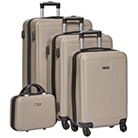 New Travel Hardside spinner luggage Set of 4 pieces with 3 digit number Lock -BEIGE