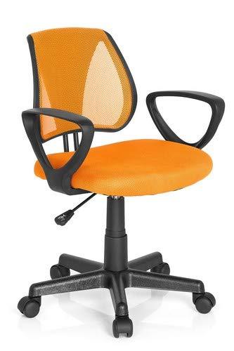 hjh OFFICE 725107 Kinder- und Jugenddrehstuhl KIDDY CD Netzstoff Orange Schreibtischstuhl mit Armlehne höhenverstellbar