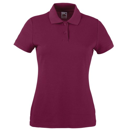 Fruite of the Loom Damen Lady-Fit 65/35 Pique Polo Shirt, vers.Farben Burgundy
