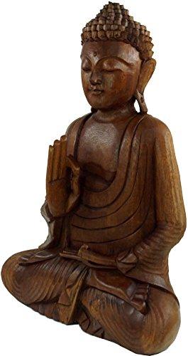 Guru-Shop Buda de Madera 50 cm, Vitarka Mudra - Marrón Oscuro, Suarholz, Estatuas de Buda