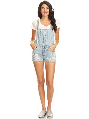 Anna-Kaci Damen Denim Blau Distressed Buttom Knopf Loch Jumpsuits kurze Latzhose Overalls Jeans Shorts (Distressed Damen Stiefel)