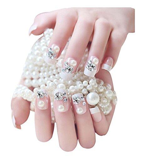 2 Boîtes(48 Pièces) 3D mariage faux ongle/Classique style faux ongle, Cristal