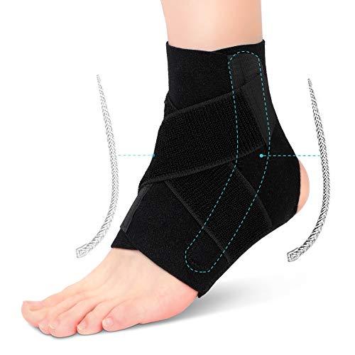 Knöchelbandage Sprunggelenk Stabilisierung, Sprunggelenk Schiene Sport mit Seitenstabilisatoren Fußgelenkbandage Neopren Fußgelenkstütze zum fußball basketball und Chronische Knöchelschmerzen