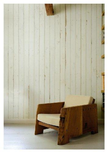 NLXL Tapete in Holz-Optik von Piet Hein Eek, Faserstoff, Creme/Grauweiß, 1Rolle (900x48,7cm) - Scrapwood Wallpaper