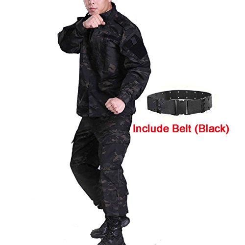 H mundo compra hombres táctico BDU Chaqueta de uniforme de combate Camisa y pantalones traje para ejército militar Airsoft Paintball caza juego de guerra de camuflaje negro MCBK, MCBK