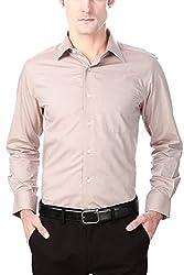 Peter England Mens Solid Regular Fit Formal Shirt (ISC4065_Beige/Fawn_39)