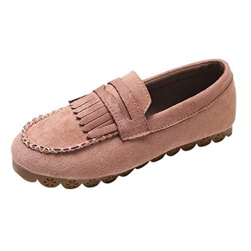 Yvelands Mujeres Liquidación Moda para Mujer Borla Punta Redonda Plana Casual Mocasín Zapatilla Doug Shoes (Rosado,37)