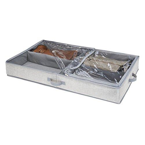 mDesign Unterbettkommode mit 4 praktischen Fächern - Unterbett Aufbewahrungsbox für Kleidung und Schuhe - platzsparende Kleideraufbewahrung aus atmungsaktivem Polypropylen - grau