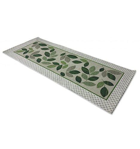 tex family Alfombra Cocina Antideslizante Leaf Hoja Verde–cm. 55x 180