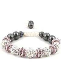 11-Ball Dual Double Colour Row Purple and White Bead Shamballa Bracelet on White String ** EXCLUSIVE DESIGN **