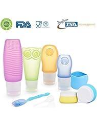 [FDA Zertifiziert] ieGeek Silikon-Reise-Flaschen-Set BPA frei nachfüllbare Körperpflege-10 Set für Shampoo, Lotion, Sonnenschutz , Toilettenartikel – geeignet für Outdoor, Fitness, Geschäftsreise usw.