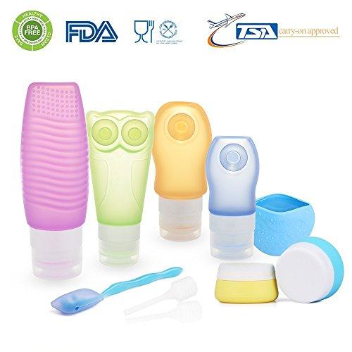 [FDA Zertifiziert] ieGeek Silikon-Reise-Flaschen-Set BPA frei nachfüllbare Körperpflege-10 Set für Shampoo, Lotion, Sonnenschutz , Toilettenartikel - geeignet für Outdoor, Fitness, Geschäftsreise usw.