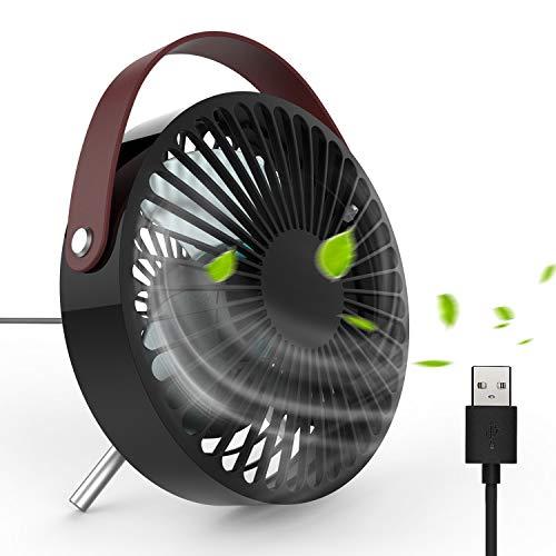 Kleine Usb-tablet (USB Ventilator - DOUHE Mini Fan klein Tischventilator Tragbar Schreibtischventilator 30° neigbar mit Gürtel-Griff Energiesparend für Tablet-PC, Powerbank, USB-Adapter usw (SCHWARZ))