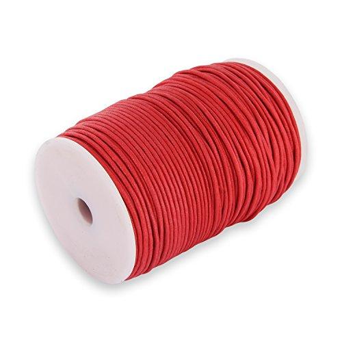 Auroris 100m Rolle Baumwollband rund 1mm Farbe: rot -