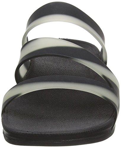 FitFlop Superjelly Twist With Stripe, Sandales  Bout ouvert femme Noir (noir)
