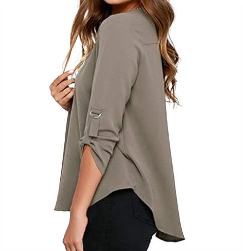 WSLCN Damen schlicht Langarmshirt Oberteil Blusen einfarbig V-Ausschnitt Grau