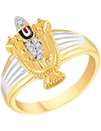 VK Jewels Tirupati Balaji Gold and Rhodium Plated Alloy Ring for Men Made With Cubic Zirconia- FR2567G [VKFR2567G]