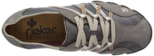 Rieker 49011, Chaussons Sneaker Femme Gris (Staub/Dust/Spiaggia/Silver / 44)