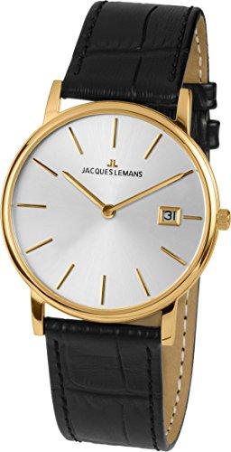 Jacques Lemans Unisex Analog Quarz Uhr mit Leder Armband 1-1848C