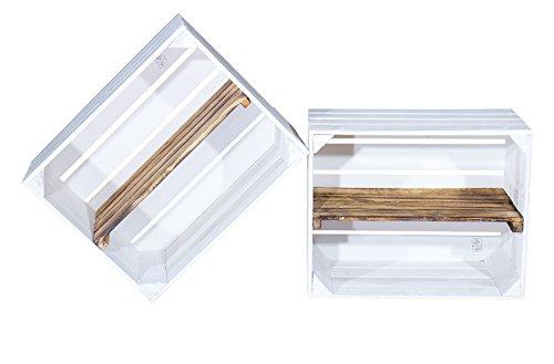 2er Set weiße Holzkiste mit geflammtem Mittelbrett -längst- Neues Regal aus Holz für Schuhe und...
