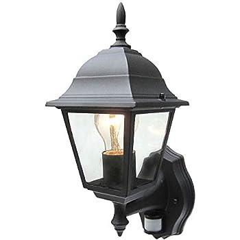 Ansell Flush 3 sided Wall Coach Outside Light Half Lantern with PIR Sensor