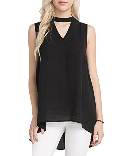 Pegaso Fashion Women/Girls Top Tees Shirt Tunic (Fabric Crepe High Neck Sleeveless Color Black)