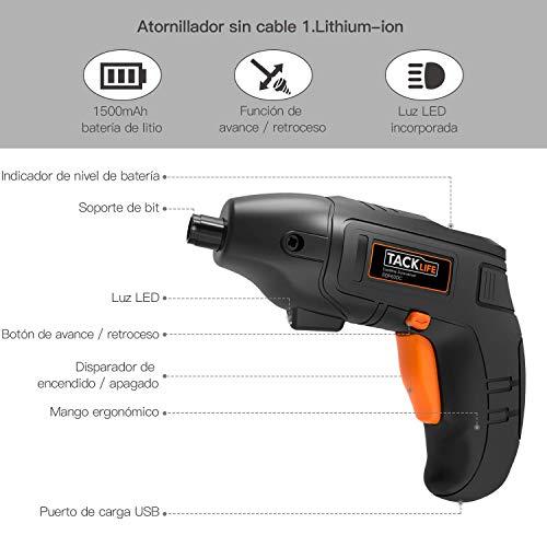 Atornillador Electrico TACKLIFE SDP60DC,  5 N.m Par Max Destornillador Bateria de Litio 1500mAh con Luz de LED,  10 PCS Gratis,  3.6V Carga MINI USB,  Para el Montaje de Muebles y Encuadernación Mural
