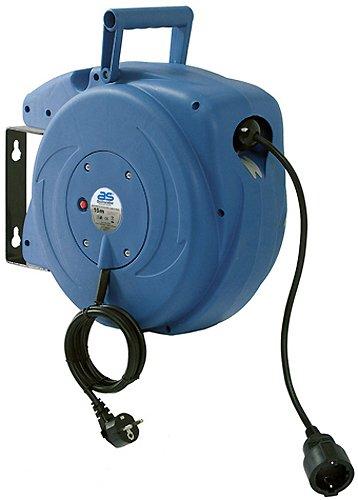 as - Schwabe 12611 Automatik-Kabeltrommel mit 15m Kabel zur Wandmontage, automatischer Kabelaufroller mit Einzug, blau