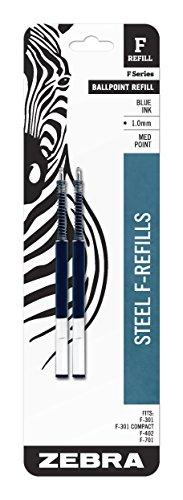 Zebra F-Serie Kugelschreiber rostfreier Stahl Mine, mitteldicke Spitze, 1,0mm, 2Stück, verschiedene Farbe 5.000 blau