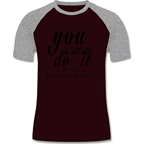 Statement Shirts - You Can Do It - If You Really Want - zweifarbiges Baseballshirt für Männer Burgundrot/Grau meliert