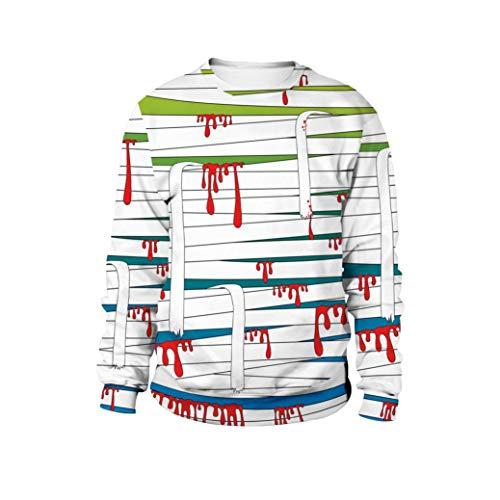 (Tragende Strickjacke der Paare -3D Blut und Bandage Print Halloween Langarm Hoodie Pullover Top- Sweatshirt Damen Sweatjacke Langarmshirts-Tunika Damenmode-Langarm Blusen-Kapuzen Bluse(Blau,L))