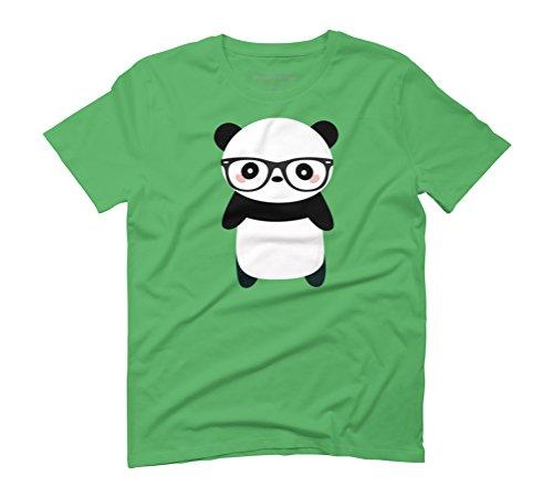 Kawaii and cute nerdy panda Men's Graphic T-Shirt - Design By Humans Green