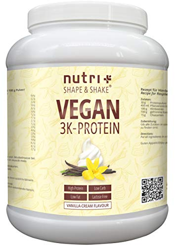 Protein Vegan Vanille 1kg | 84,6{41a005b71e7ce2bcfdef4835275975e9b15eec2e2b0e56289afc66c5b4825dbb} Eiweiß | 3k-Proteinpulver | Nutri-Plus Shape & Shake | Low-Carb Eiweißpulver ohne Lactose & Milcheiweiß
