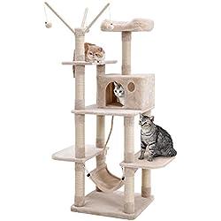SONGMICS Árbol para Gatos Rascador con Nidos Hamaca Plataformas Bolas de Juego 154 cm Colores Opcionales Beige PCT86M