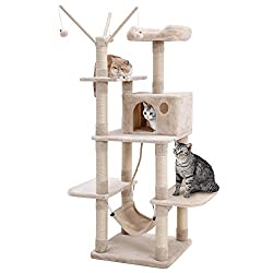 SONGMICS Cat Tree Cat Scratcher Activity Centres Scratching Post with a hammock Beige PCT86M