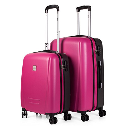 JASLEN - Set de 2 trolleys ABS extensible Denver, Color Fucsia-Gris oscuro