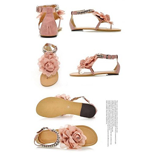 Junsi Summer Casual Style Lace Flower Beads Flats Women Sandals Clip-toe Shoes Chaussures Comfort Design Peep Toe Sandales Beige