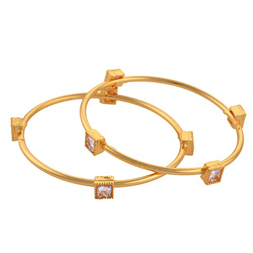 Zephyrr Gold Tone Bangle With Zircons Jewellery For Women Pair Party Wear Jewellery For Girls